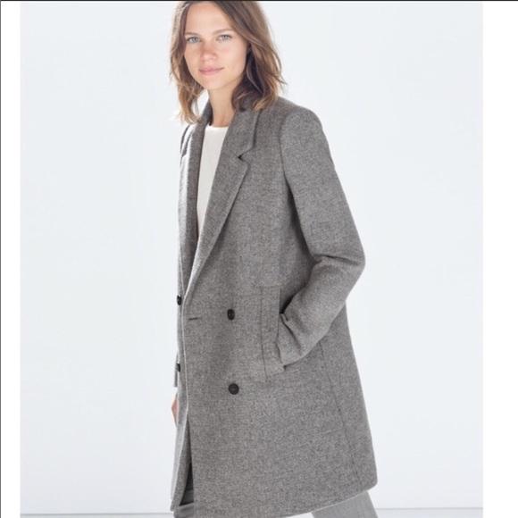 3df66b1ee6 Zara trf grey masculine wool coat long jacket
